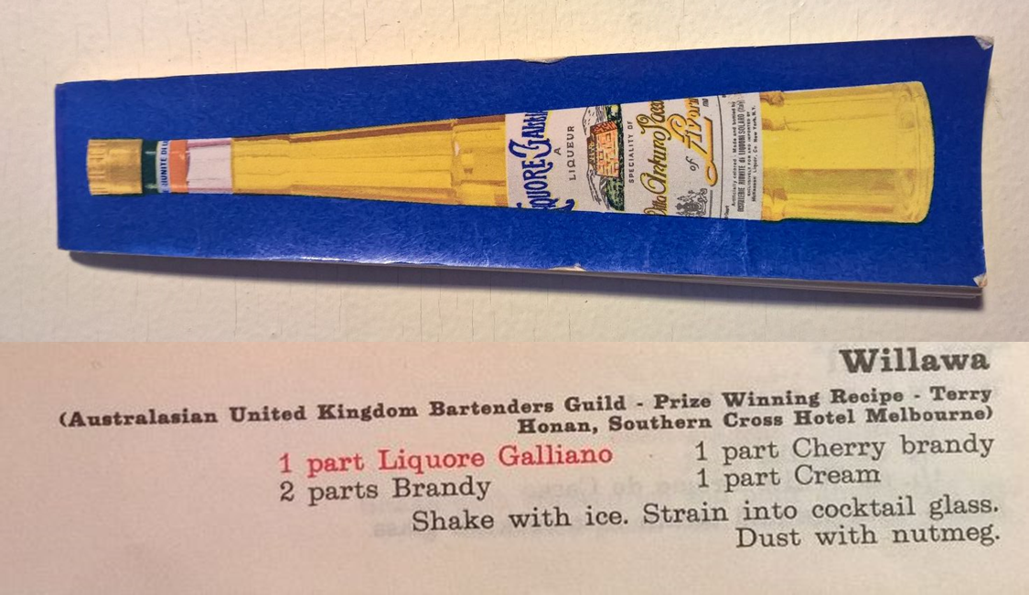 Galliano Drink Book, Sept., 1968, and the recipe for the Willawa