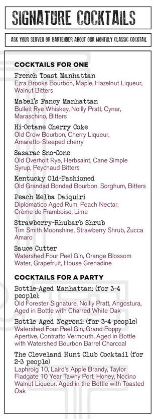 The Opening Cocktail List for Mabel's BBQ -