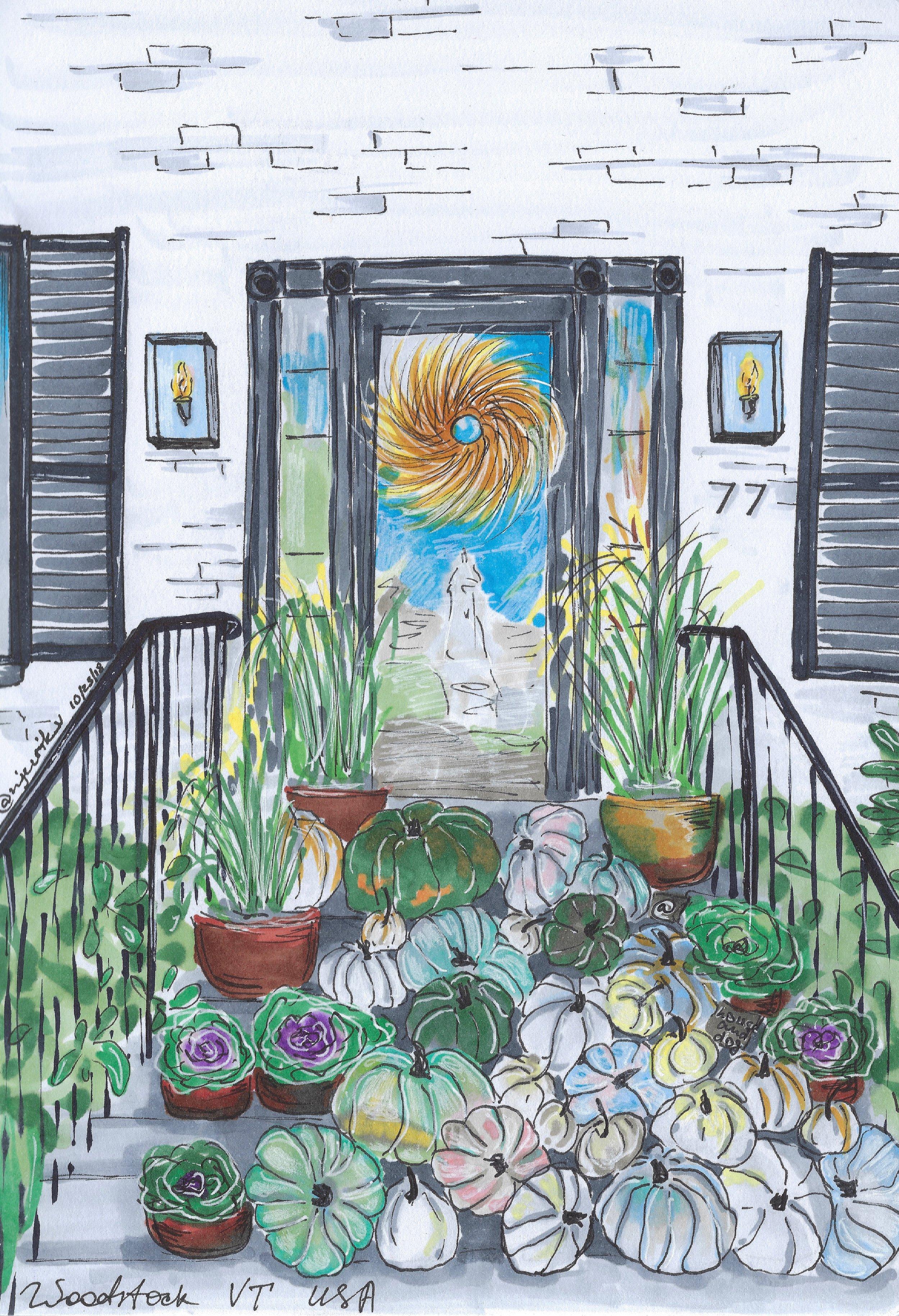 A beautiful drawing of House & Dog by Anna Vaskovska of  @njurik_vaskovska ! Check out her Instagram page!
