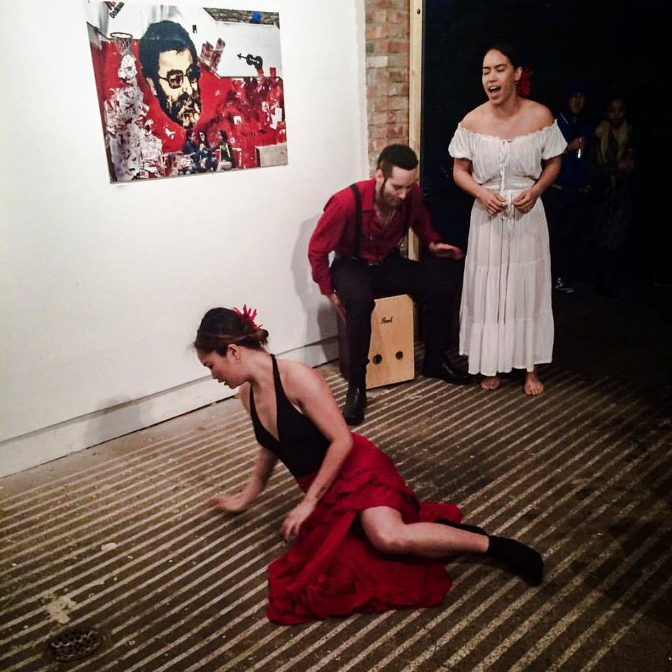 """MAY 21, 2016     RAWIYA: She Who Tells A Story    Suku Dance Lab performed an excerpt of  Ella(a-yah) at THE CREATORS COLLECTIVE's event SHE WHO TELLS A STORY: An Evening of Performance Inspired by the Rawiya Collective at Open Source Gallery in South Slope, Brooklyn on Saturday, May 21, 2016.  Rawiya Collective ( Rawiya Photos )– the first Middle Eastern female photography collective – presents """"In Her Absence I Created Her Image,"""" an exhibit for Open Source Gallery.The works performed at the event are either inspired by the photographs in the exhibit, the meaning of Rawiya which is """"she who tells a story"""" or the Rawiya Collective's goal of dispelling stereotypes to encourage a more compassionate and empathetic worldview.  Performer: Belinda Adam (soloist), Talia Moreta (vocal), Alejandro Saldarriaga Calle (percussion)"""