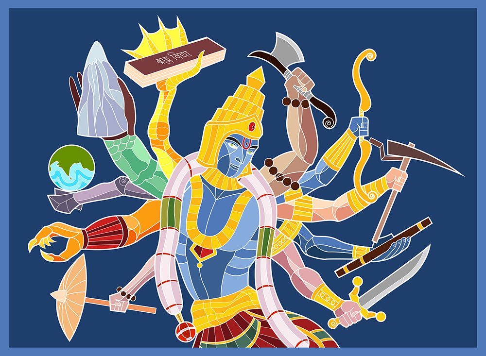 The Ten Avatars  We all know the common story about the ten avatars that the Indian God Vishnu takes to protect the world, but more on that in just a minute.  When I was making a drawing of Ravana, I wanted to originally draw him with ten hands playing the Veena. But ten hands for one instrument seemed excessive. So I thought I'd make each hand play a separate instrument, but that looked a bit awkward. Then I had a flash of an image with something related to each of the ten avatars of Vishnu in Ravana's ten hands. While that made an interesting image, that made no sense at all. Why would Ravana of all people pay homage to Vishnu's avatars? And then it hit me, I could just draw a ten-armed Vishnu with each arm paying homage to each of the ten avatars.  And so I started off sketching the figure and the various arms, but then I hit upon another problem. Seven of the avatars were human or humanoid and could have arms, but the first three were animals. How was I supposed to have meaningful arms for these?  This I sort of managed to address by giving them humanoid-like hands or just using their limbs as-is.  Then came the dilemma of how to make each hand unique enough to be identifiable. So here's what I did from the last avatar backwards: Kalki-sword in hand Krishna-considered chakra but settled on flute Balarama-plough Rama-bow Parashurama-axe Vamana-umbrella Narasimha-was a bit of a puzzle, because the avatar doesn't hold anything, the nails are supposed to be the weapons. Briefly considered intestines of Hiranyakashipu but felt that would be too gory Varaha-this one was a little challenging since this was essentially a wild boar whose hand isnt supposed to be articulate. The story has the wild boar carrying the earth to safety on its snout so I settled on the earth on its hoof. Kurma-this was even more challenging since a tortoise's hand is even less articulate. In the story, the tortoise carries the mountain Mandhara on its mountain, so I settled on a tortoise arm ca
