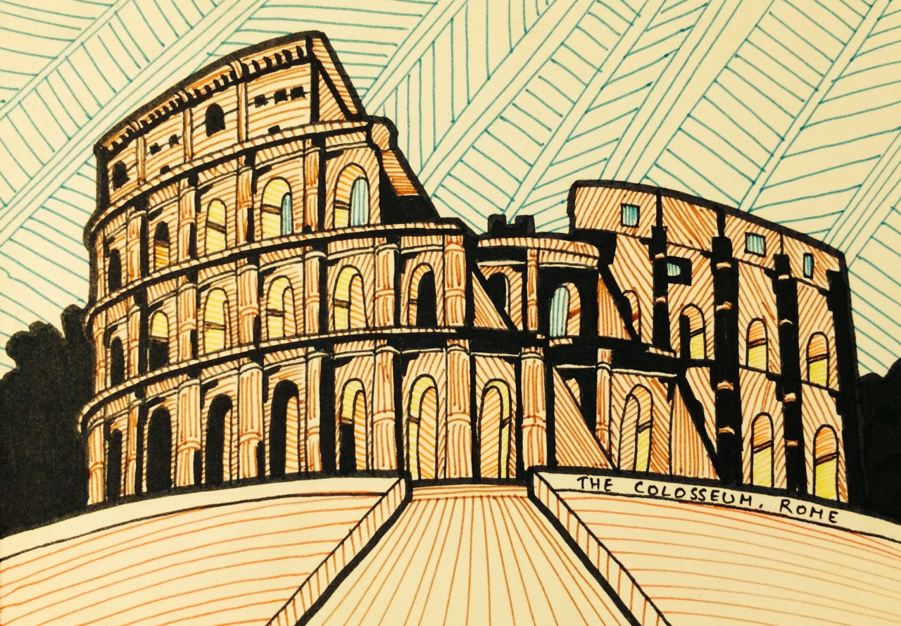The Colosseum  A postcard illustration of the Colosseum in Rome, from my recent holiday to the city of Rome in 2015.  It was constructed in 72AD by the Emperor Vespasian and his successor Emperor Titus. It could hold an estimated 50000-80000 spectators.  This impressive colossus, despite undergoing a series of restorations, never fails to astound me with it's sheer presence and absolute magnificence. What's harder to believe that there's as much of it still standing, despite being nearly 2000 years old.  Nothing else represents the utter descent into an absolutely decadent lifestyle like the Colosseum, as visitors would pour in from all corners of the empire to witness bloody gladiatorial tournaments, animal hunts, public executions, simulated naval battles, re-enactments of famous battles and dramas from classical mythology.