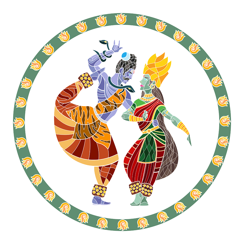 Shiva & Parvati  Shiva and Parvati as the cosmic dancers, their rhythmic movements representing the motion of the entire universe, signifying the union of time, energy, space and consciousness.   Shiva in the form of Nataraja is the patron of Bharatanatyam in India. It was only logical that I extend participation in the dance to his wife Parvati/Shakti. I put Shiva in an advanced Bharatanatyam pose I saw and Parvati in her traditional Kamakshi/Meenakshi pose with a symbolic parrot in her hand. In addition, Parvati is generally depicted with green skin in this form, hence her unique look here.