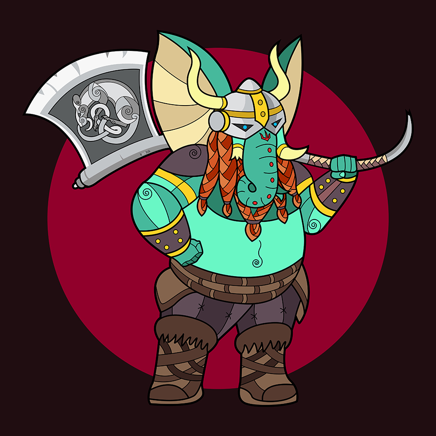 As christmas approaches, I started seeing a lot of drawings of Santa Claus as a Norse Viking warrior. Also, I was reminded of the story of Ganesha's creation, when he fiercely guarded his mother with a battle-axe/mace in hand against any intruders, even his own father Shiva.  It was this fierce and battle-ready quality that set me thinking that in that moment, Ganesha had shown qualities equivalent to that of a Viking warrior, for whom the highest honor was death in combat which made they worthy of entering Valhalla. Also, the cold of Mount Kailash where Ganesha lives easily rivals that of the wintery arctic waters where the Vikings sailed.   Decked out in furs and leathers, with an enormous battle-axe swung across his shoulder, I wanted him to look imposing and menacing, while retaining his poise and grace. If you can't see his smile, it's possibly because his face is covered by that braided ginger beard :-)   And to finish the piece, I took inspiration from some celtic knot designs of rats and put one on his axe. (Yes yes, no connection between the Celts and the Nords, but it's just cool)   I did think, should I add a fur cloak or a Viking boat behind? Perhaps next time.