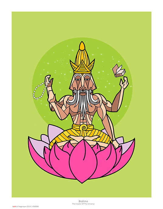 This is Brahma, the alleged creator of the universe. He's supposed to have 4 heads, each having mastery over one of the four vedas. Traditional depictions are with four separate heads but I felt I had to do something different to show this, hence my attempt at making it a more geometric representation with a head facing each direction.   I fact, I was so fascinated by how this looked that I promptly made the head my avatar on multiple sites :-)