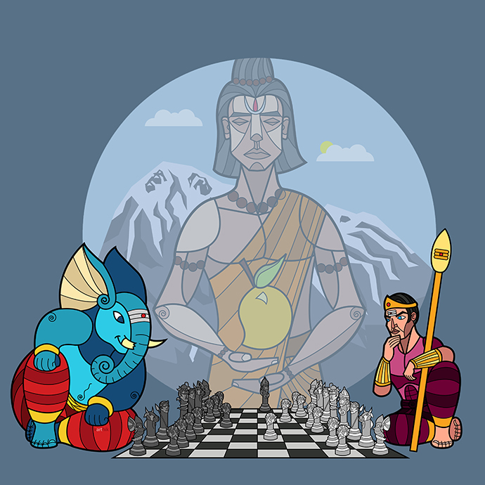 After watching the movie Thiruvilayaadal, I kept thinking of the scene where Ganesha competes with Karthikeya for the divine mango of knowledge. After seeing the magical wizards chess from Harry Potter, games like Battle Chess where the pieces come alive and finally a specialized Indian version of chess pieces from Rajasthan, I was really inspired.  I decided to do my own version of it with Ganesha and Karthikeya playing a game of chess to win the mango with a special stylized version of chess pieces based on the Kailash family!   Here, Shiva is the King, Parvati is the Queen, Karthikeya is the Bishop (because he's supposed to be well versed in the Vedas, even testing Brahma once and imprisoning him once because he couldn't answer something basic), Nandi is the Knight (because he's Shiva's ride) and Ganesha is the Rook (or the elephant as the piece is called in Indian chess, which seemed appropriate). The Ganas become the Pawns. I did consider adding peacocks and mice to the set but in the end decided against it.   Astute observers will notice that the game is already over with Ganesha making a checkmate in 2 moves (the fastest way to end a game) with his Queen against Karthikeya's King.