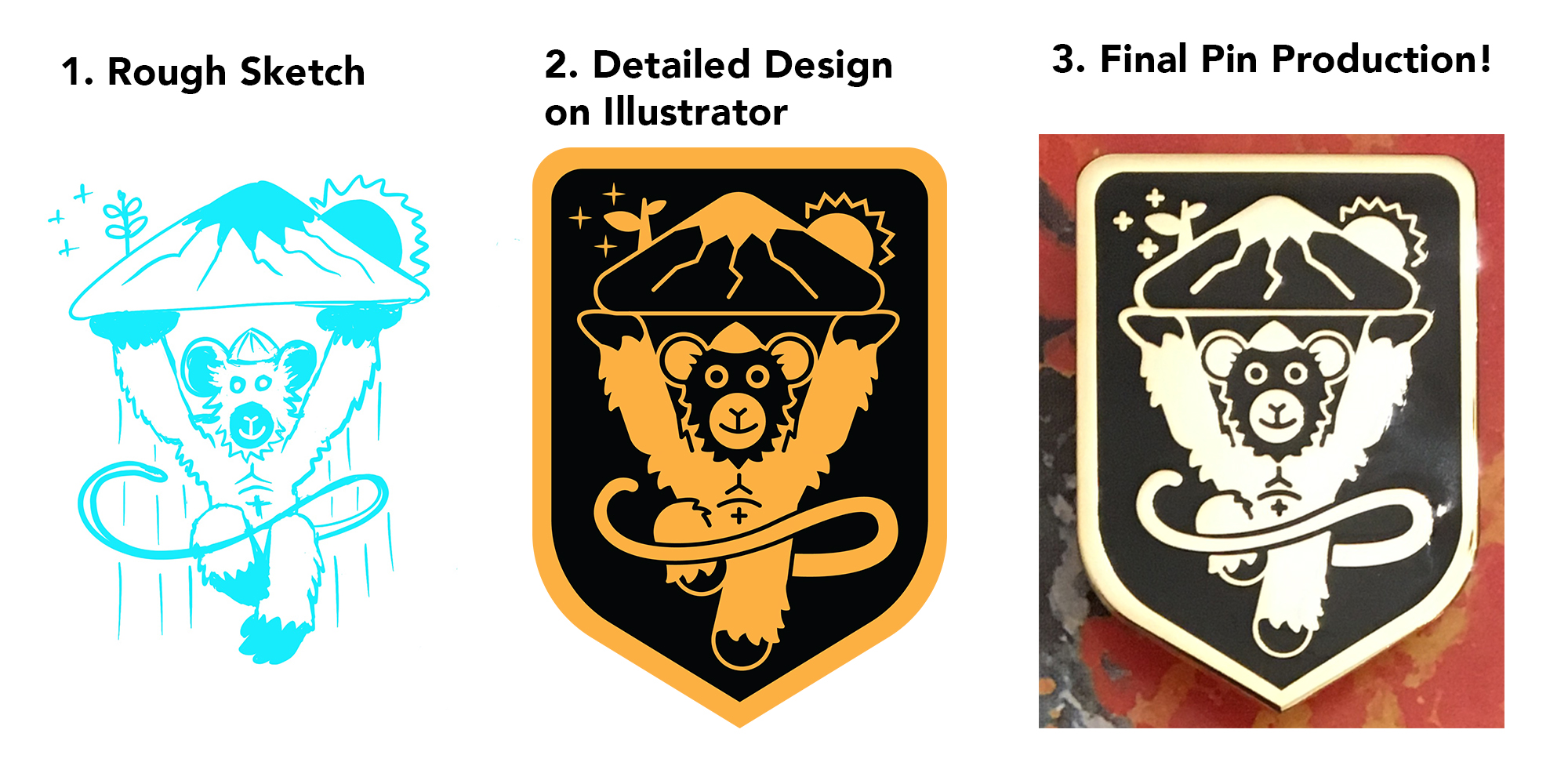 The design process from rough sketch to vectorizing in Illustrator to final pin production