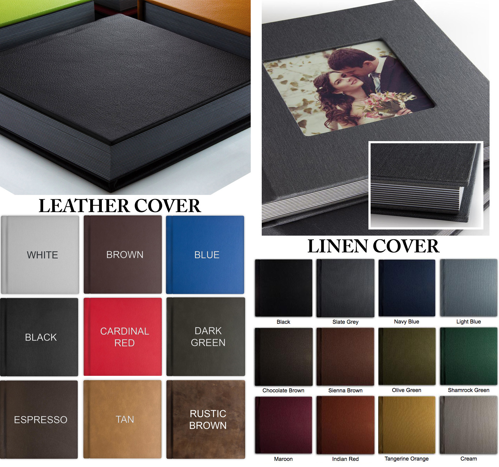 Album Cover Options: Choose between leather or linen. (Optional: cameo window seen in Linen Cover above)