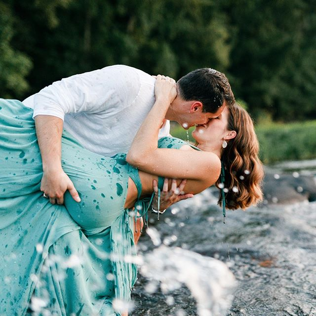 So in love with this dip shot in the James. Scott and Alyssa are such an adventurous couple and we had so much fun taking their engagement photos :) #dipshot #adventure #engaged