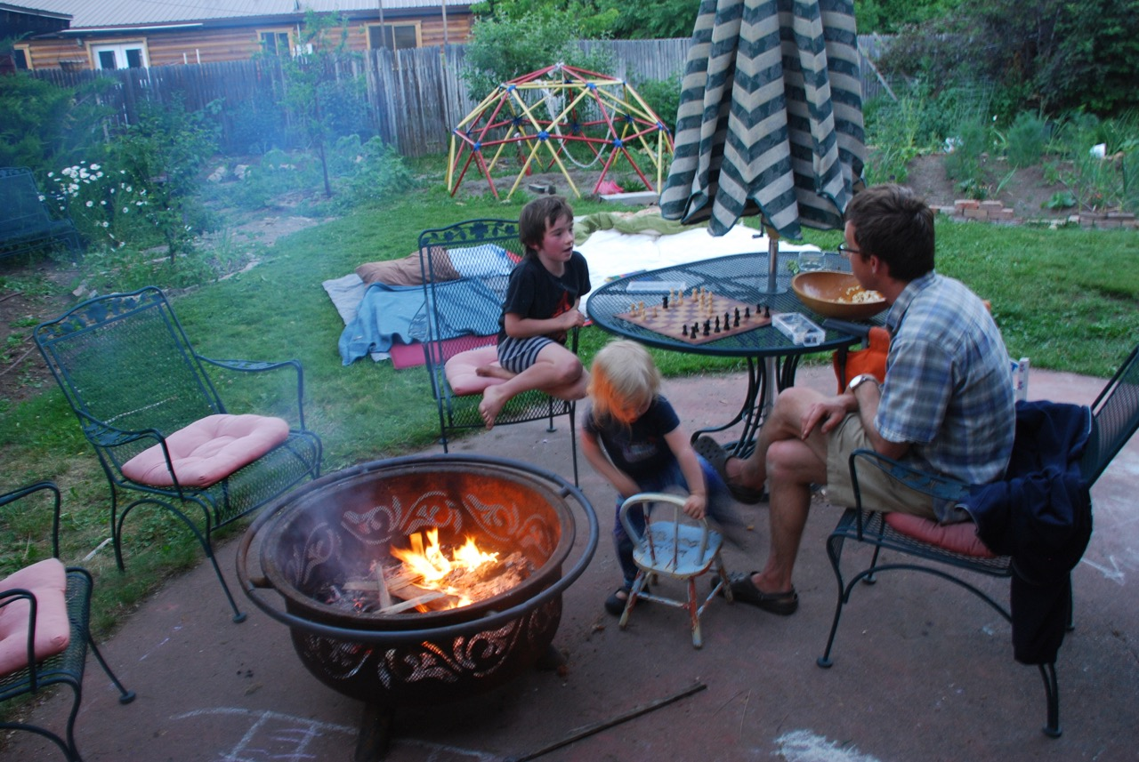 New moon sleep-out and bonfire in the back yard