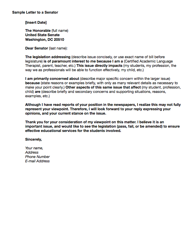 Senator Letter Template Valueusa