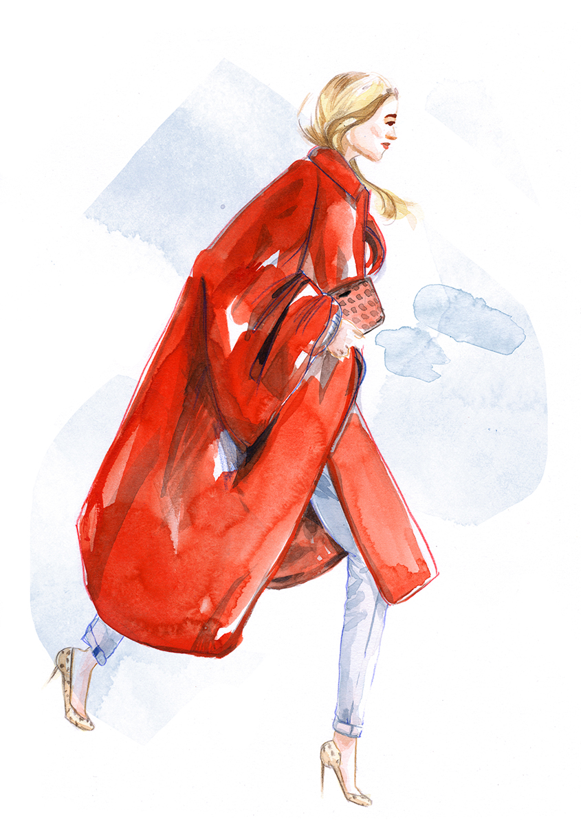 Poppy Delevigne in a Red Coat