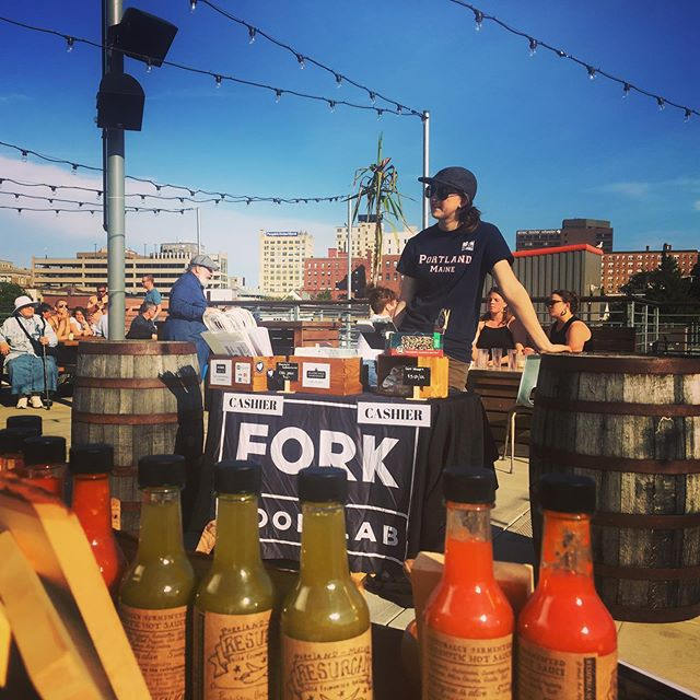 Hangin out on the rooftop this evening! Surrounded by @revisionsolar with all sorts of @forkfoodlab goodies. Stop by for drinks, snacks, and sauce 🌶 #enjoythesun