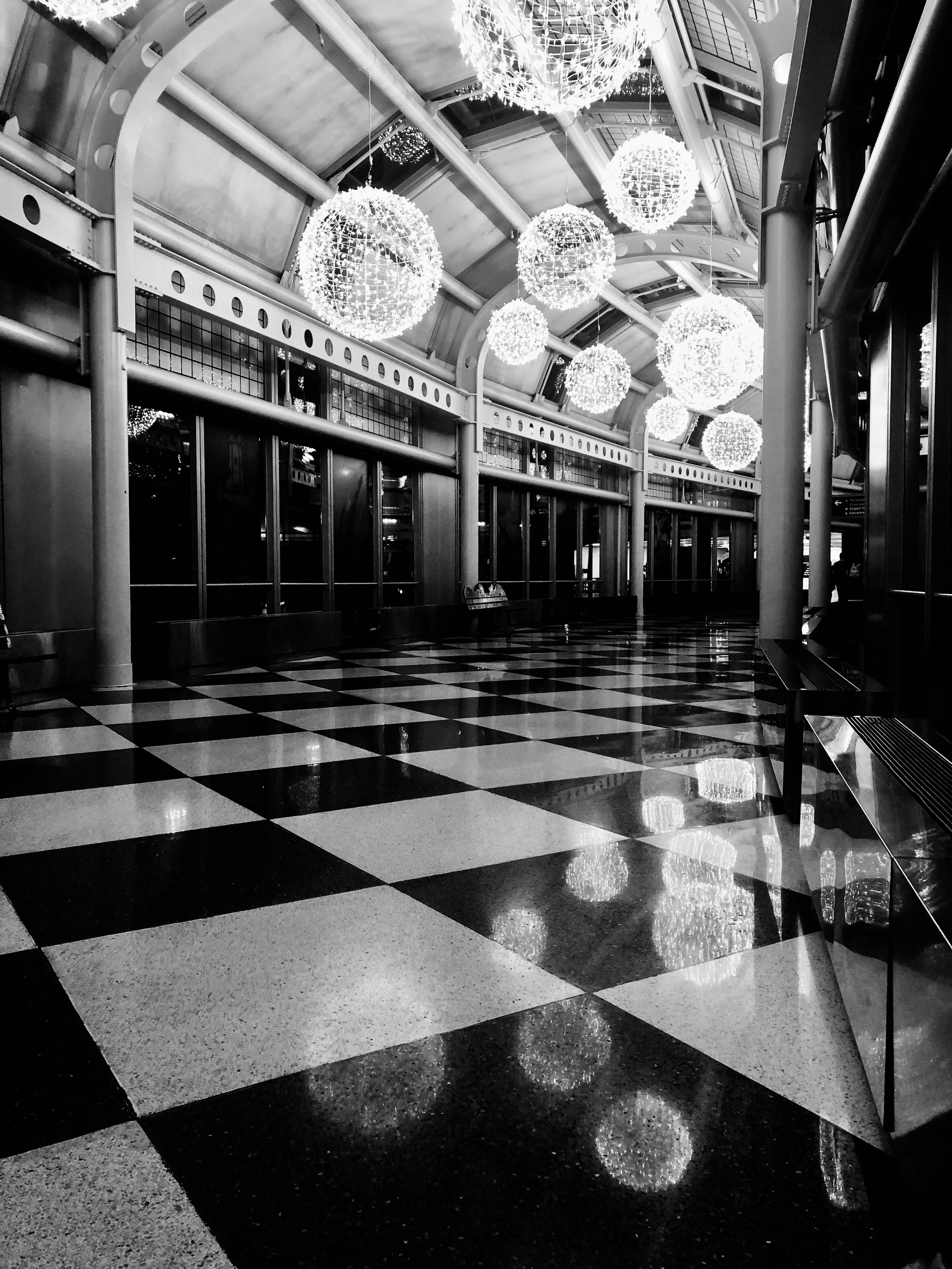 Nearly empty Chicago Terminal New Years Eve 2018.