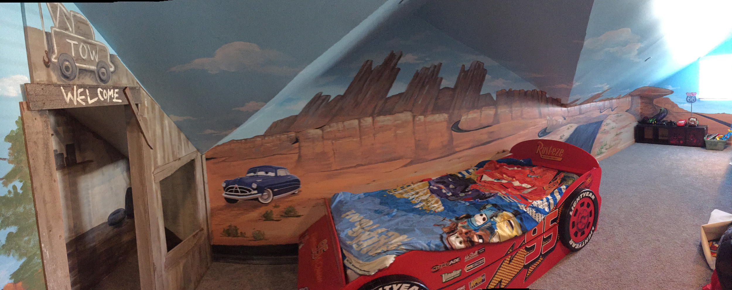Disney CARS Themed Playspace/Bedroom with Mural