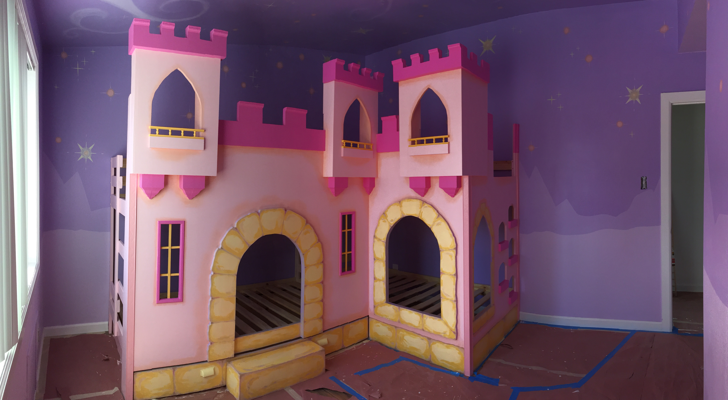 Custom Designed 5 Bed Princess Castle and Backdrop Painting