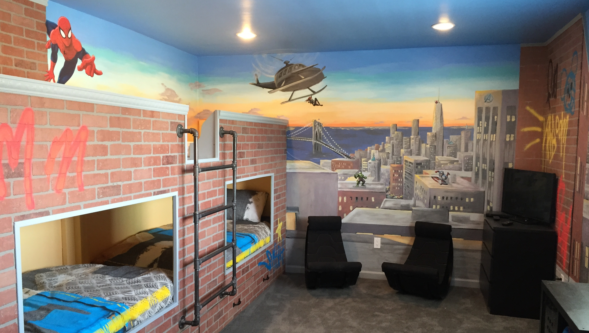Superheroes Themed NYC Scene with Custom Designed Bunk Beds and Graffiti