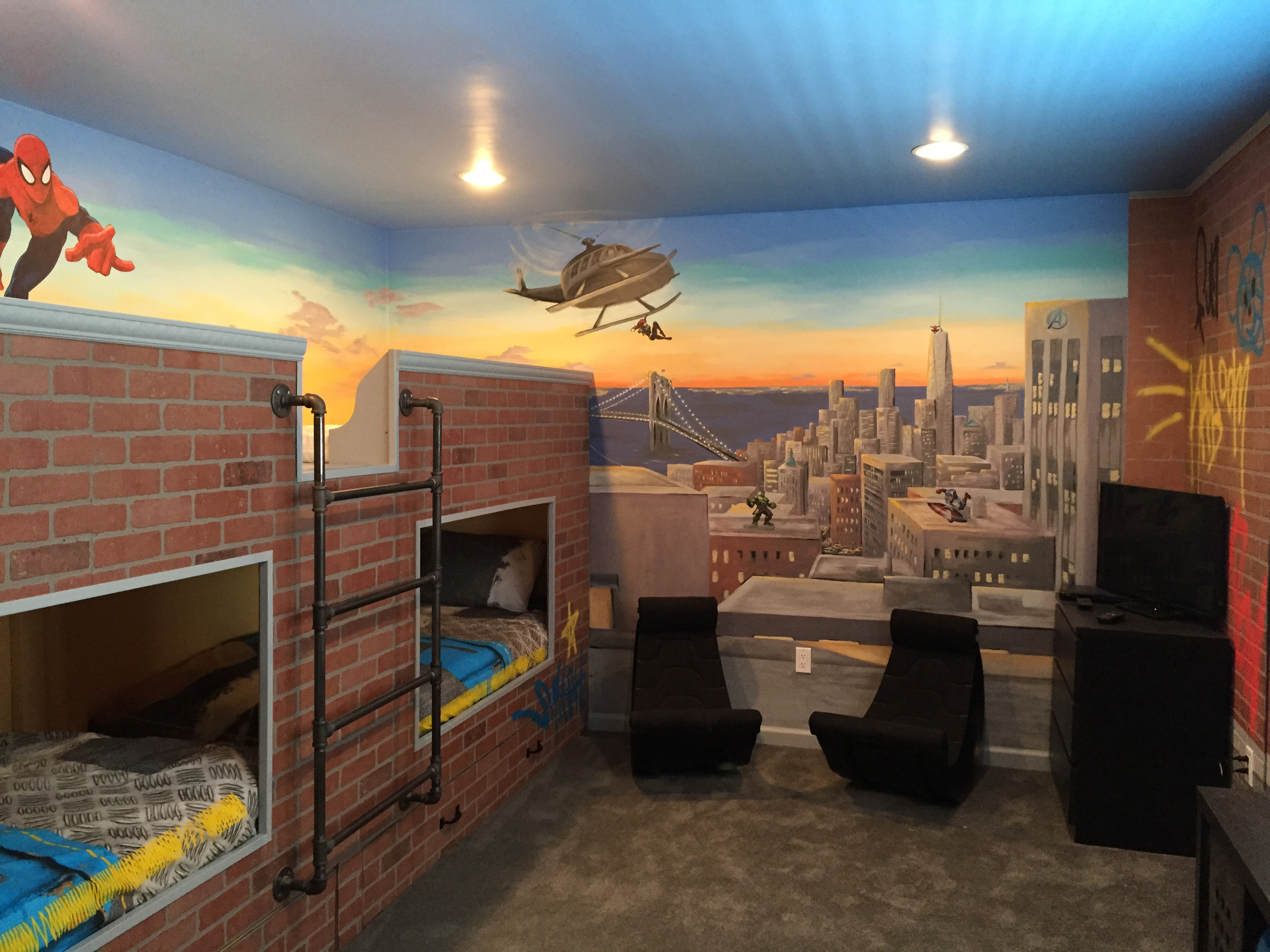 Superheroes Themed NYC Scene with Bunk Beds and Graffiti with Licensed decals