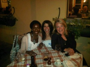 Me, Paola and Inge at Il Borro, osteria