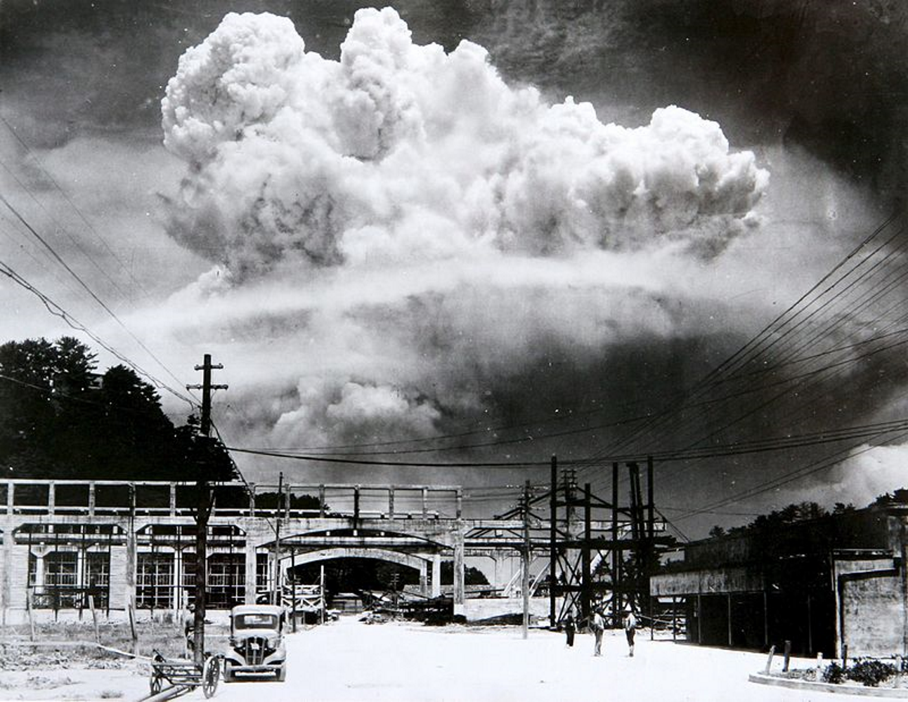 The atomic cloud over the Japanese city of Nagasaki following the detonation of a plutonium bomb called Fat Man, dropped at 11.01am August 9th 1945.
