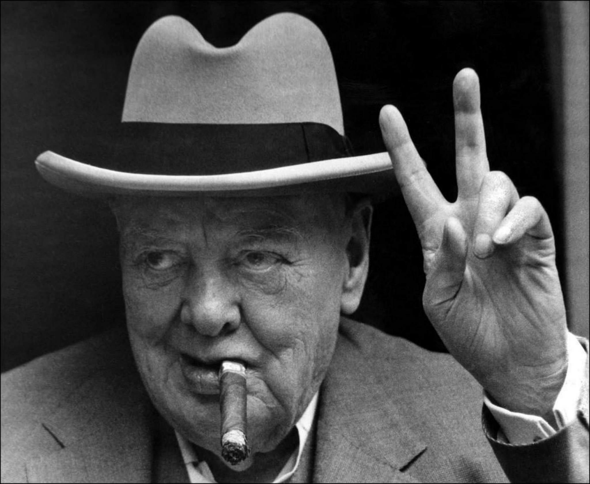 Winston Churchill and his trademark V-sign