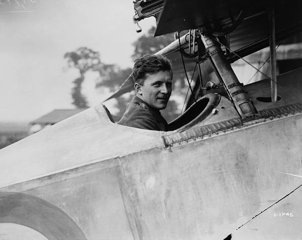 Billy Bishop c. August 1917, in the cockpit of his Nieuport 17, France