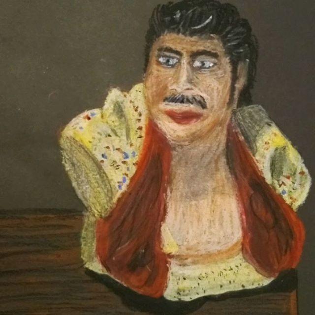 Elvis Presley 🤴🏼 The King . . . . #elvispresley #rockagusroll #hey #music #oilpastel #drawing #timelapse