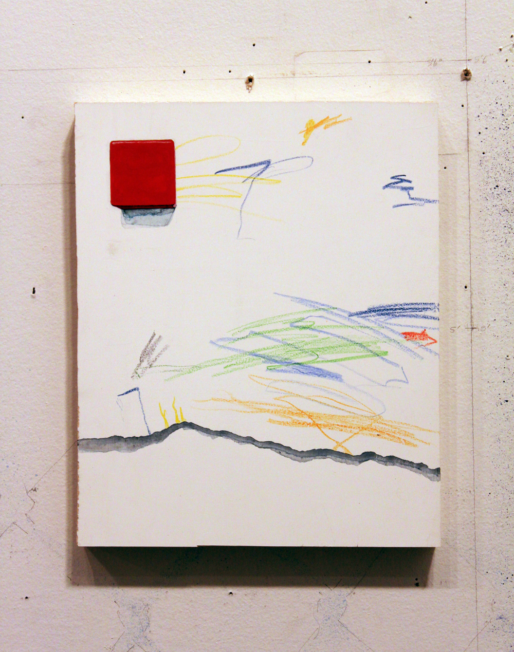 Child's Drawing with Red Block