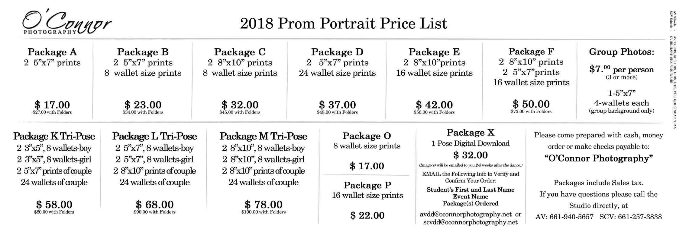 2018 Web Prom Price List
