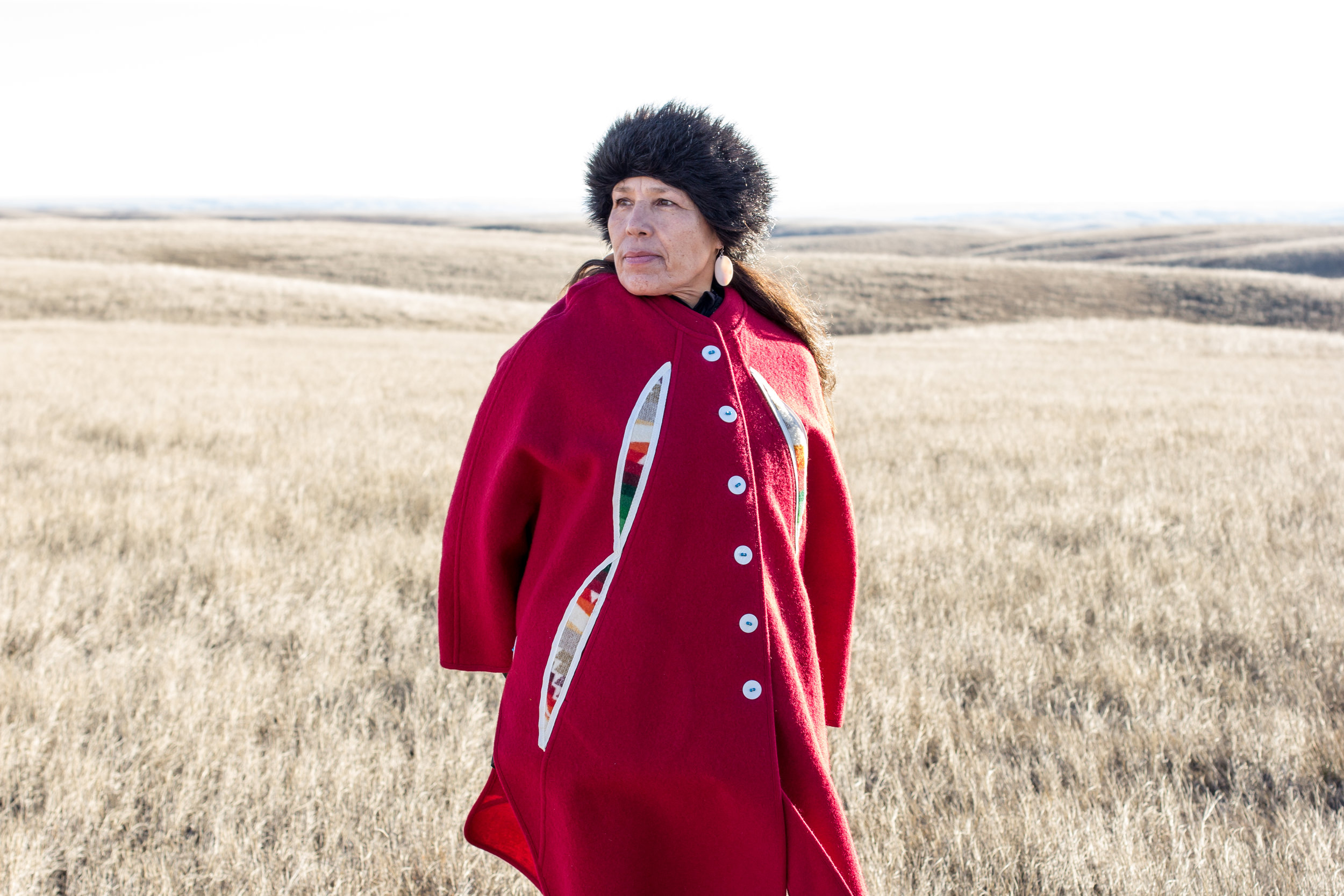 Marcella Gilbert on the Cheyenne River Reservation land where the build will take place.