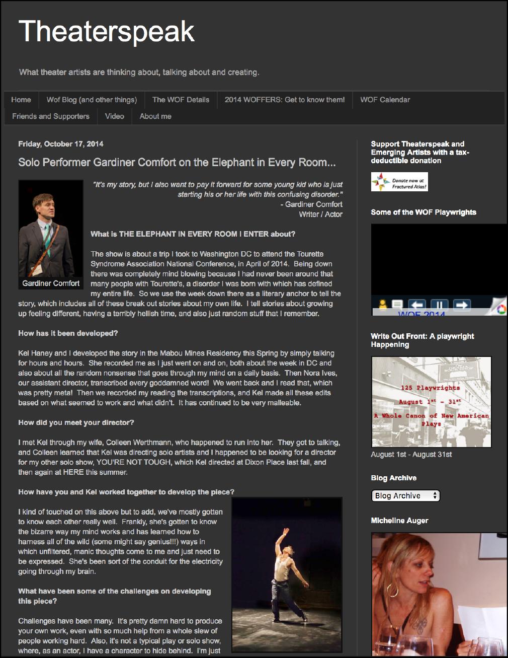 Theatrespeak with  Micheline Auger -  10/ 17/ 14