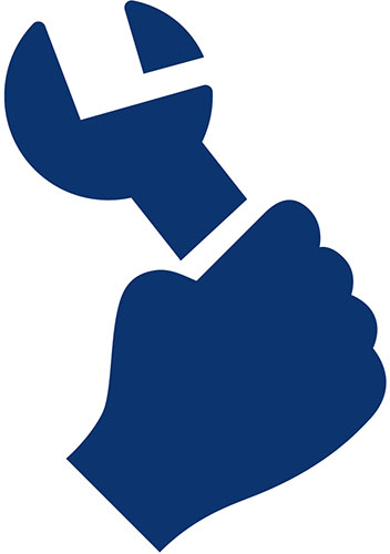 Icon of hand holding a wrench