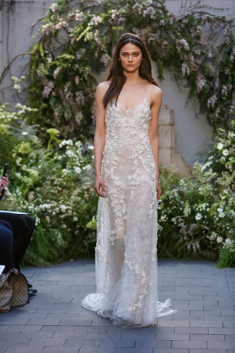 THE DRESS : As effortless as a wedding gown can be,   Monique Lhuillier 's  jeweled chantilly lace slip dress requires no more than sun-kissed shoulders and a well-toned body. The nude lining keeps it legal.  (PHOTO: Dan Lecca)