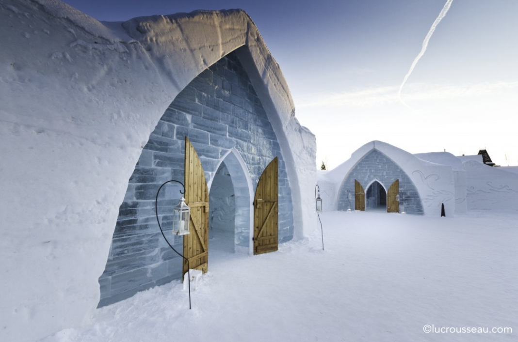 THERE'S NO NEED TO EVEN THINK ABOUT A BAD HAIR DAY WHEN YOU MARRY AT QUEBEC'S ICE HOTEL;  HOTELDEGLACE-CANADA.COM