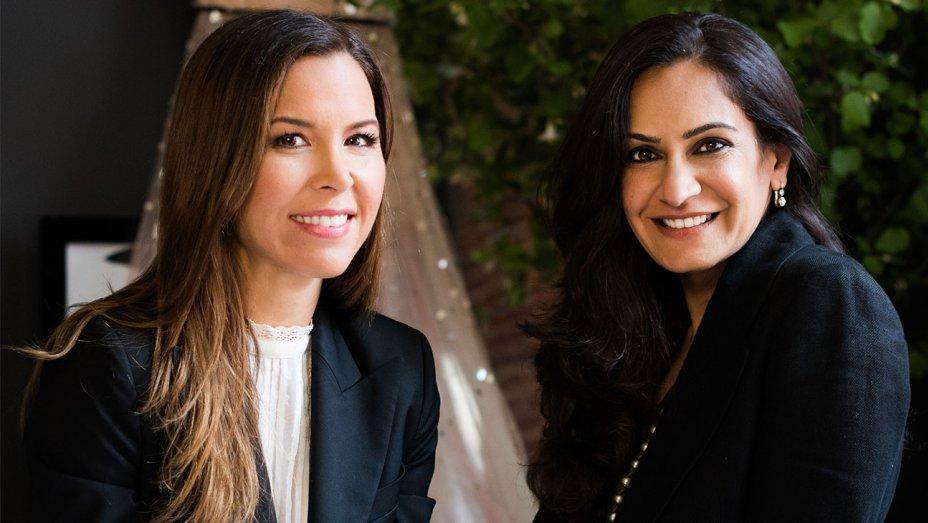 Monique Lhuillier (left), Monica Bhargava  (right)    Photo courtesy of Monique Lhuillier/Pottery Barn