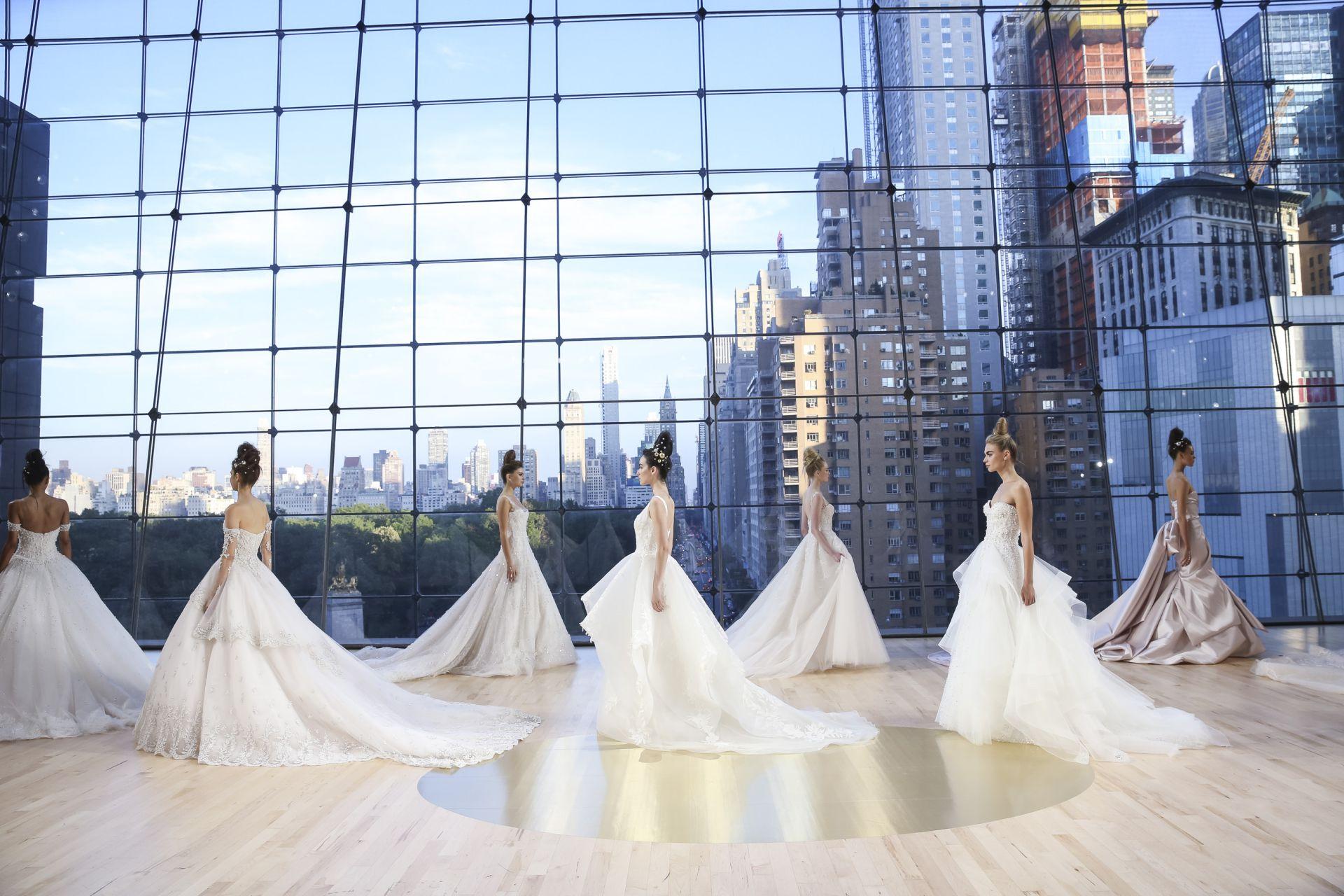 A parade of princess brides dressed by Ines Di Santo.