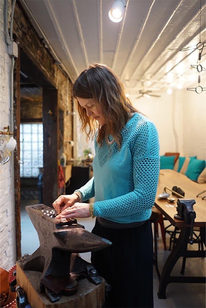 Jill Platner working in her studio. Photo Sally Davies