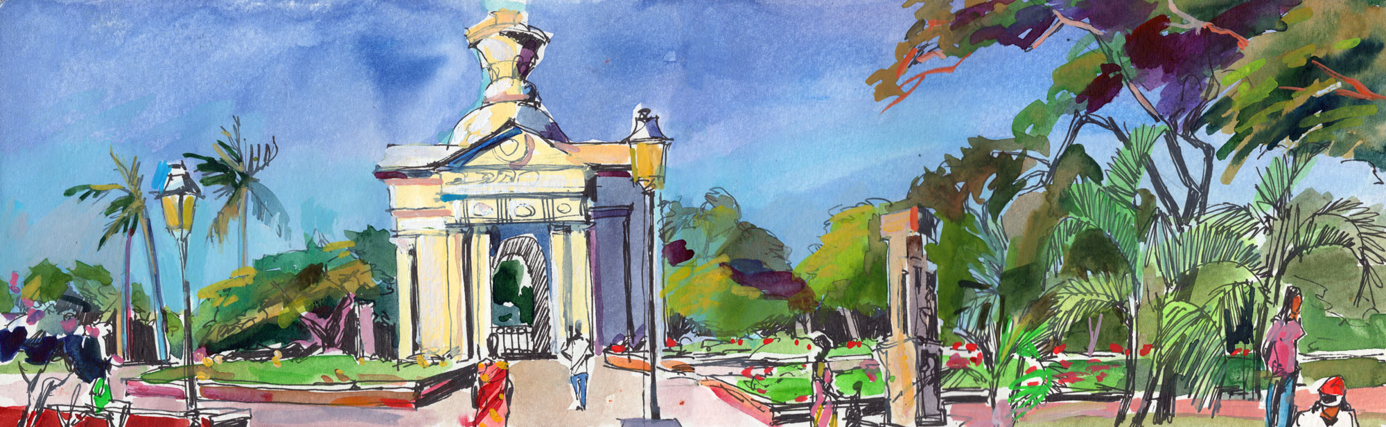 13. Bharathi park rotond Watercolours, ink on paper Original 42cmx12cm