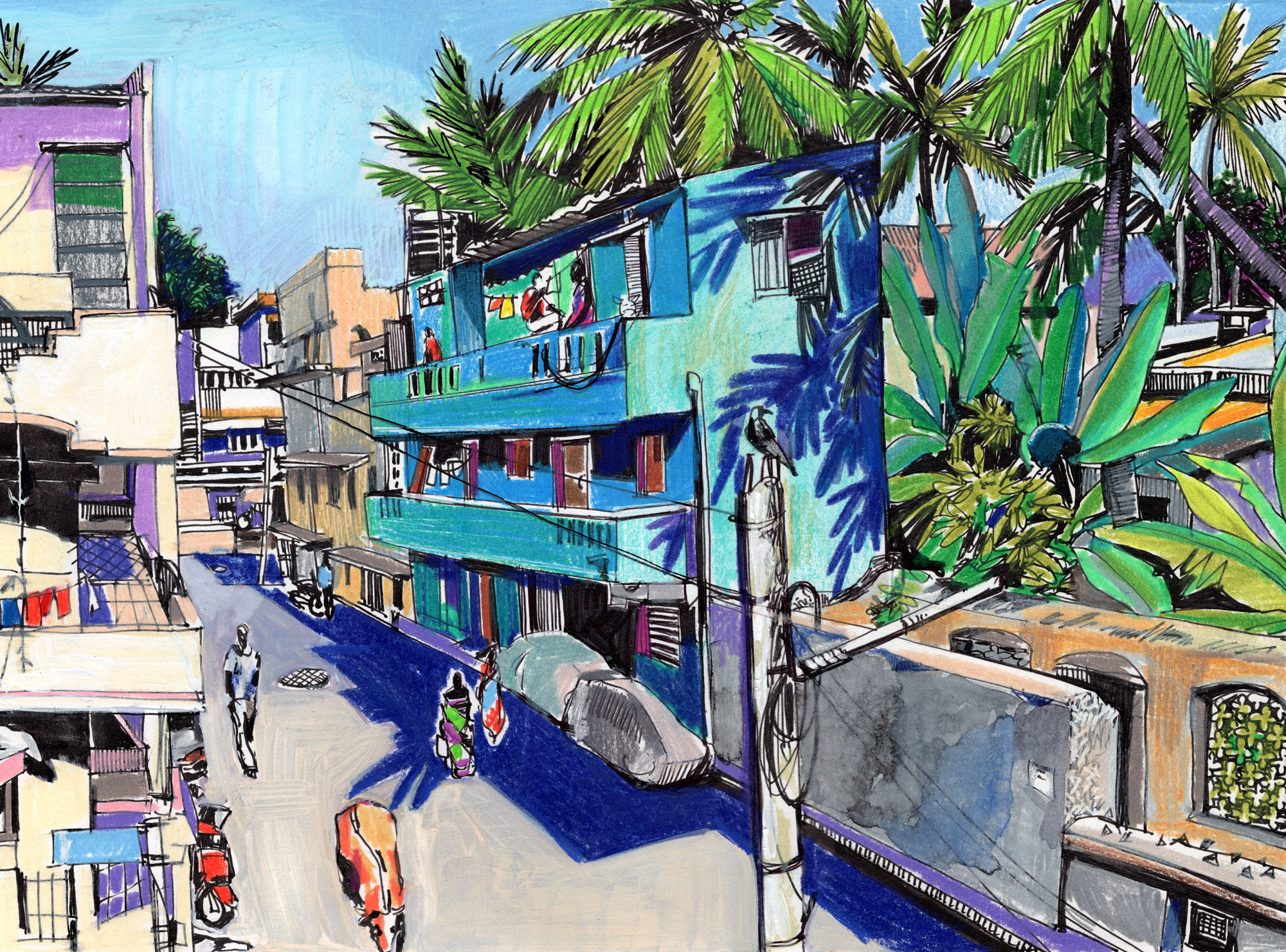 15. Street in Colas Nagar in Pondicherry Mix media: Prismacolors and watercolours 25cm x 35cm
