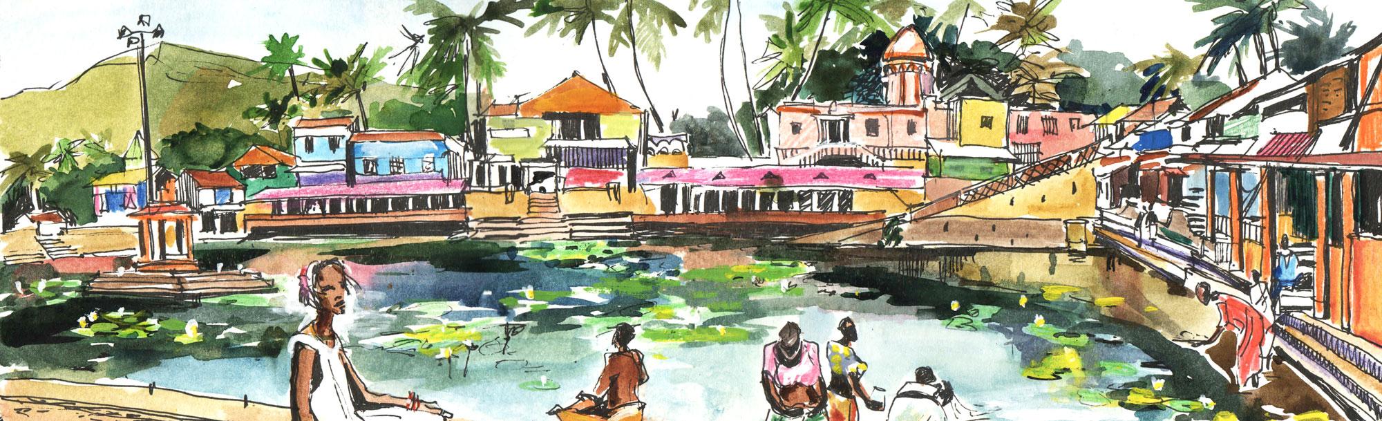 1.Gokarna temple kalyani (temple tank). Karnataka Watercolours, black ink Original size 42cm x 12cm