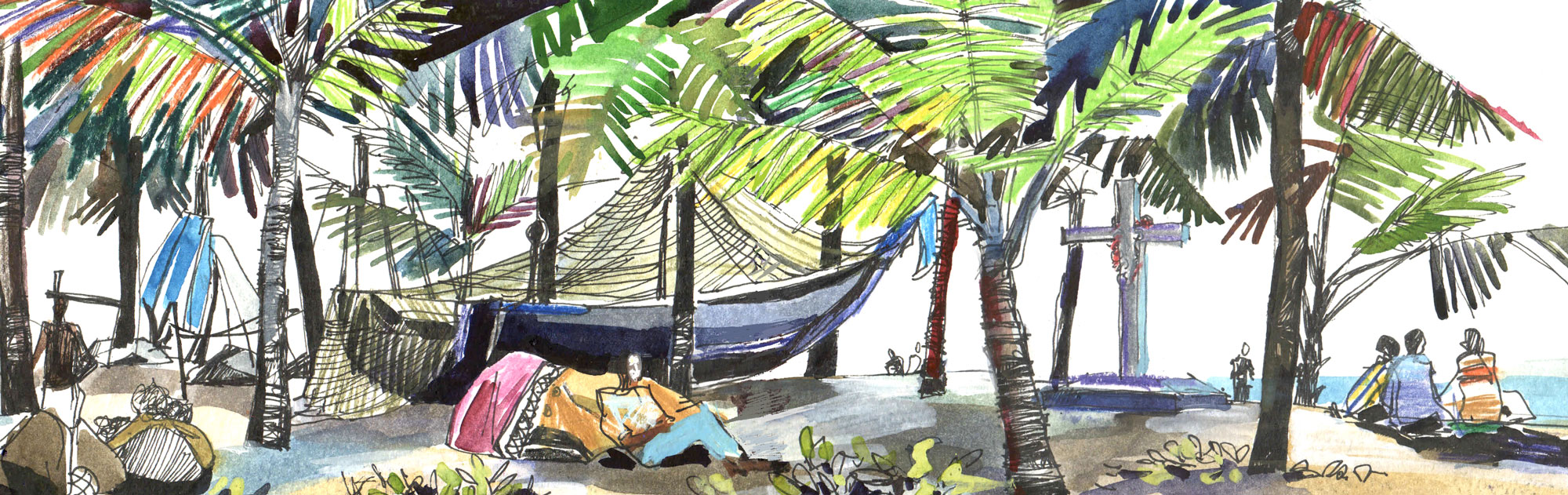 3. Morning of the fishermen in Kerala.  Watercolours, ink Original size 42cm x 12cm