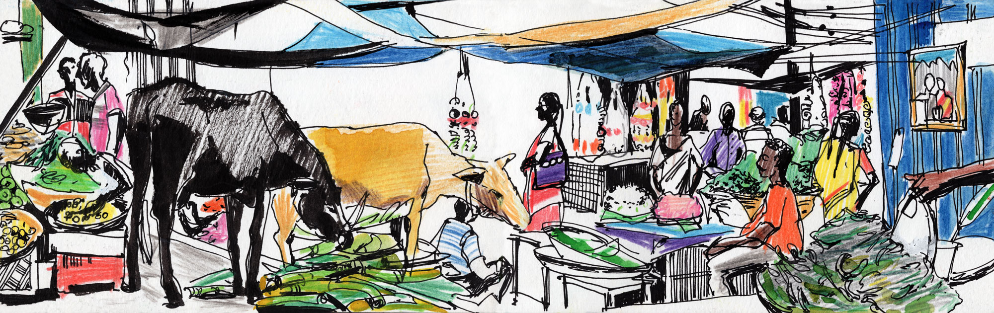 5. Famous Mysore market in the evening  Watercolours, ink Original size 42cm x 12cm