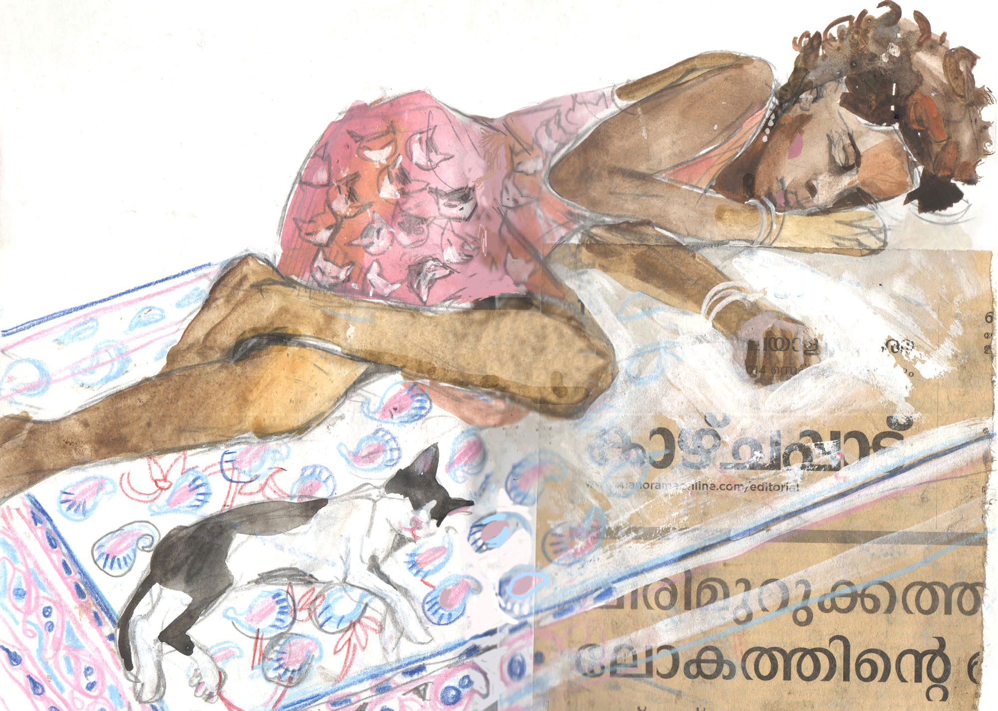 11. Kerala dreams. Girl and a cat. Gouache, colour pencils, collage Original 18cm x 28cm