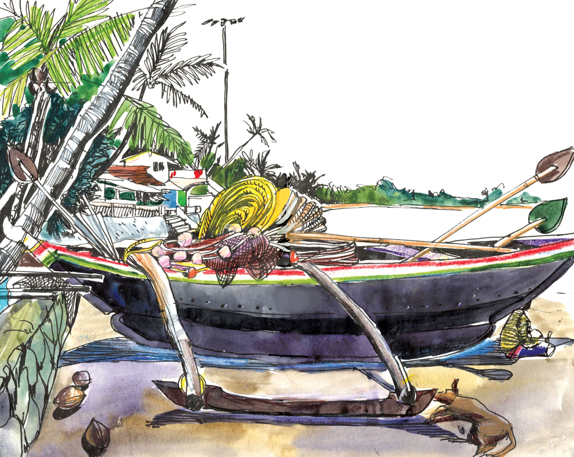 9.  Boat  on the beach during monsoon season  in Goa. Palolem beach Watercolours, black pen  Original size 18cm x 28cm