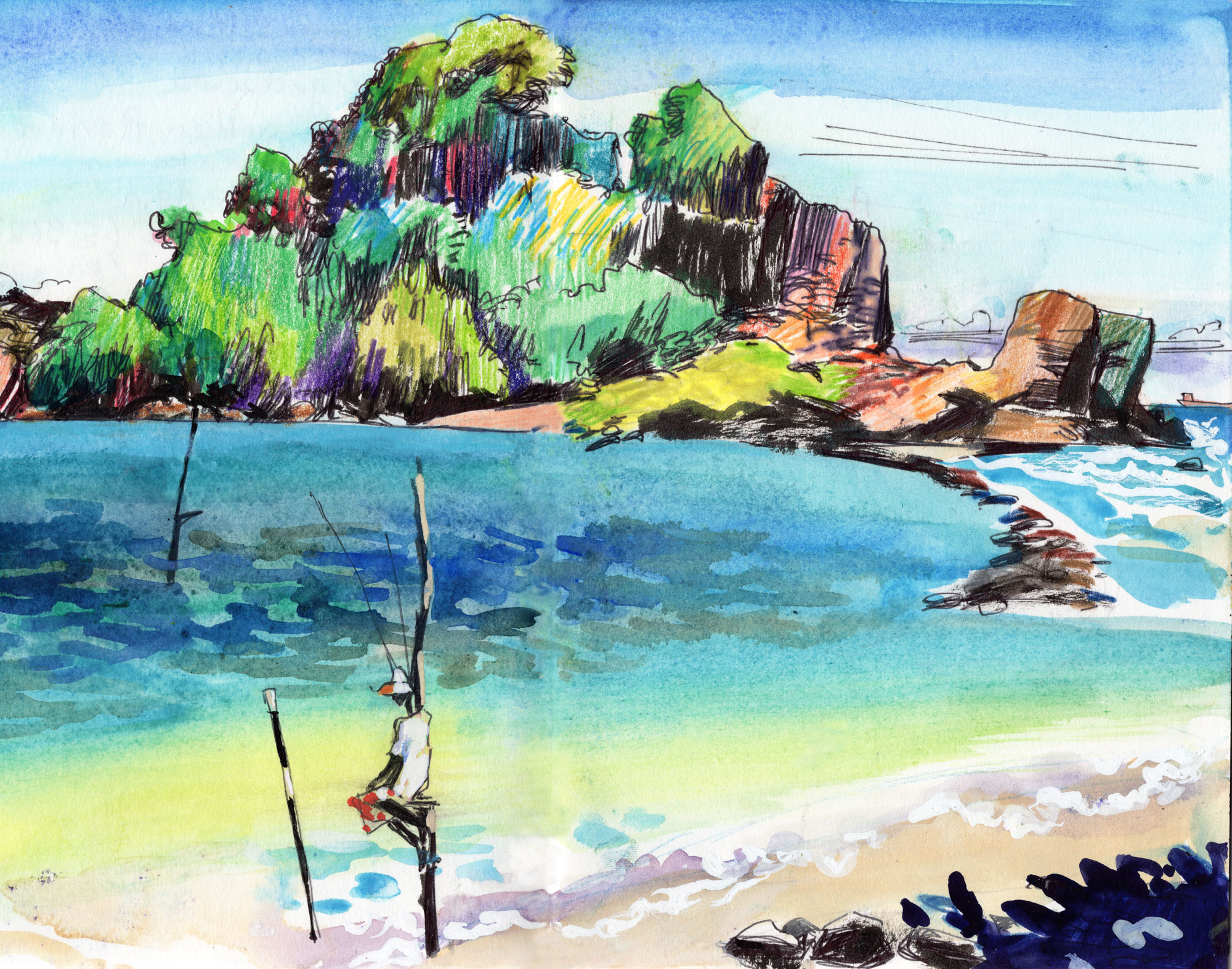 "1. Island Yakinideduwa in Southern province Literally means ""Devil's daughter"", tiny island with strong current around  Colour pencils, water-colours, black ink Original size 18cm x 28cm"