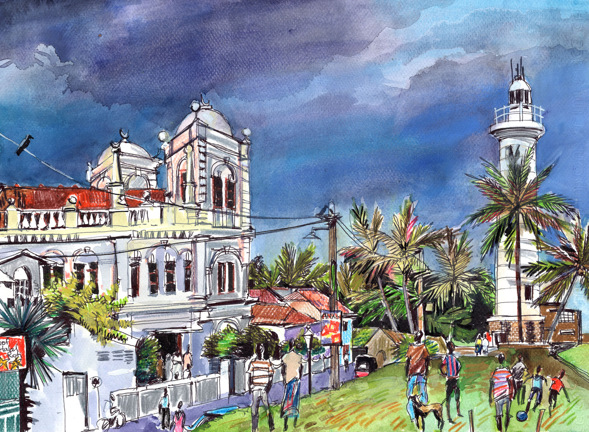 4. Meeran Masjid. Dutch Fort. Galle Watercolours, ink, colour pencils Original size 25cm x 35cm