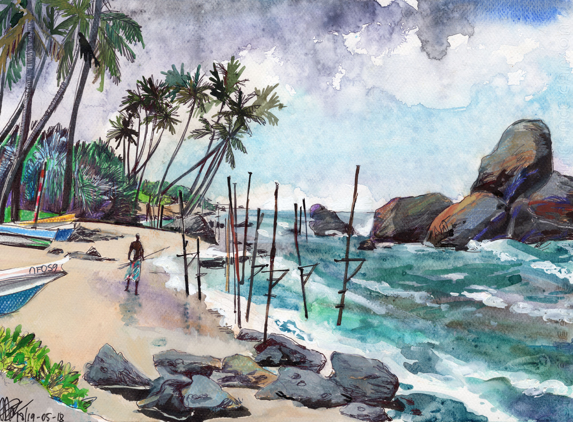 3. Stick fishermen on Ahangama beach in monsoon season. Watercolours, ink, colour pencils Original size 25cm x 35cm