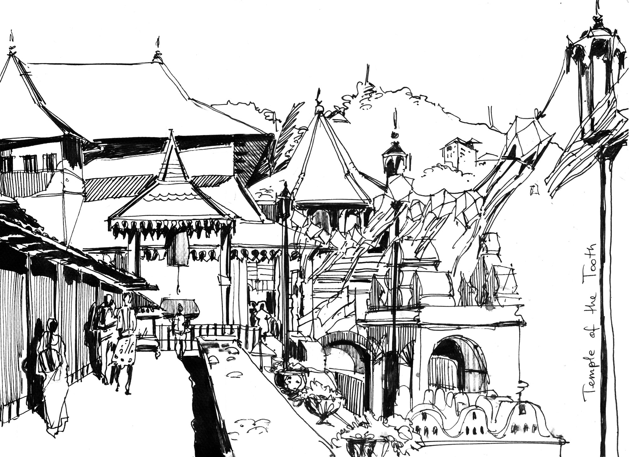 11. Sri Dalada Veediya. Temple of the Tooth. Kandy  Black ink Original size 25cm x 35cm