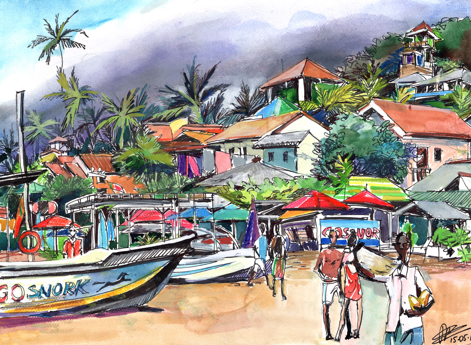 7. Unawatuna beach in off-season Watercolours, ink, colour pencils Original size 25cm x 35cm