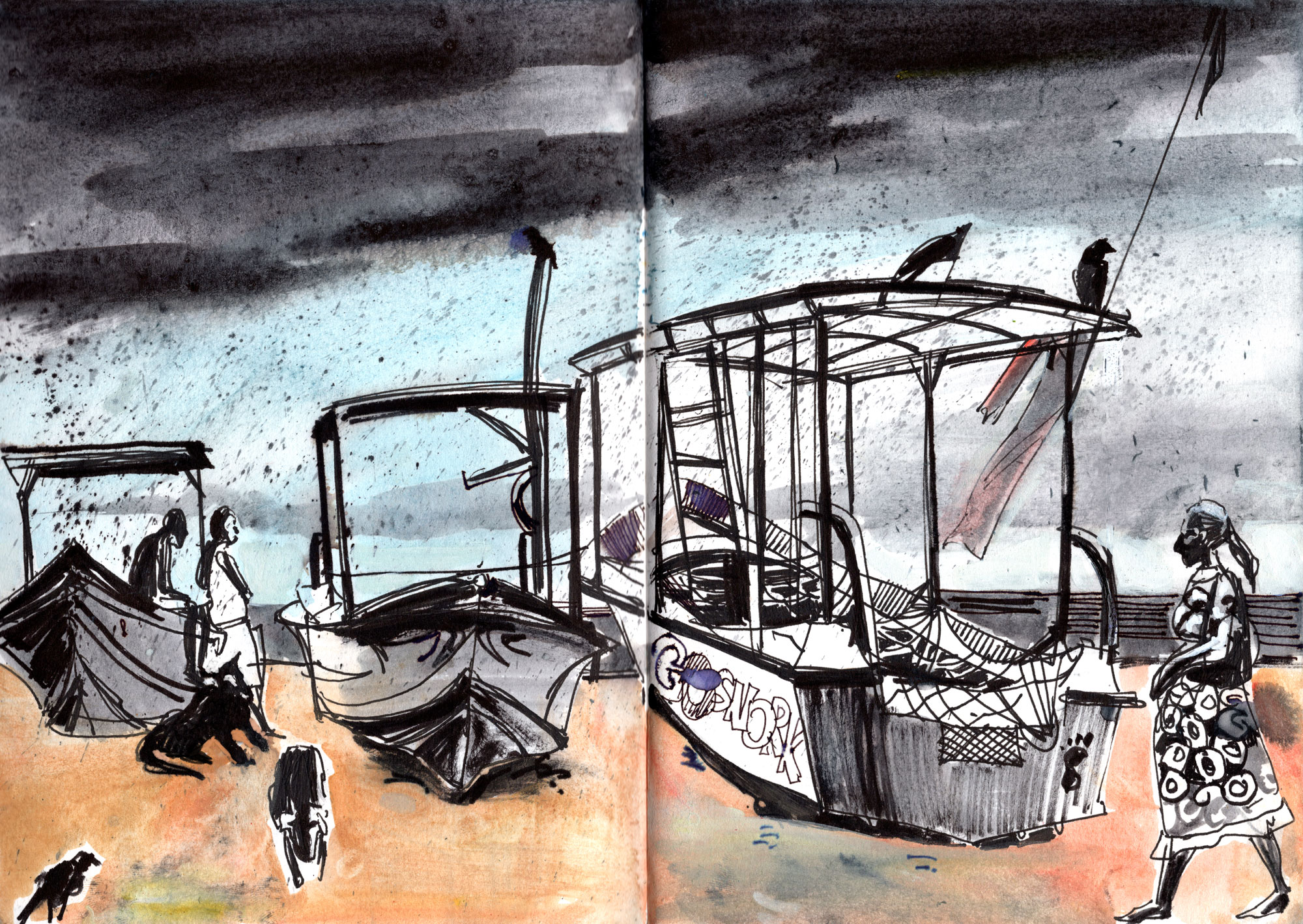 8. Rain on the beach Black ink, watercolours in sketch book Original size 18cm x 28cm
